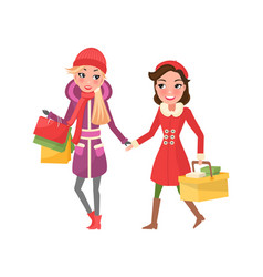 Christmas shopping of best friends girl shoppers vector