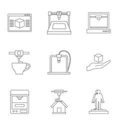 Computer 3d printer icon set outline style vector