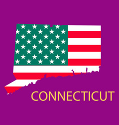 Conncticut state of america with map flag print vector