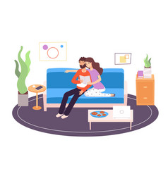 couple reading young happy family reading vector image
