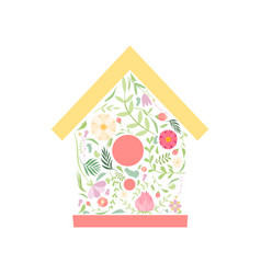Cute nesting box made floral seamless pattern vector