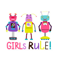 cute robot girls t-shirt design vector image