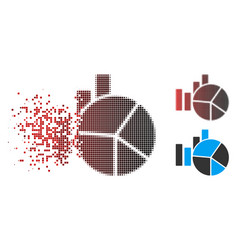 Disintegrating dot halftone charts icon with face vector