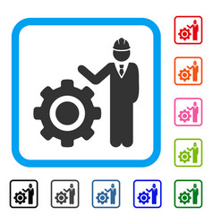 engineer with gear framed icon vector image