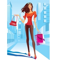 Fashion girl is walking on a street vector image