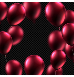 Festive card with vinous shiny balloons on vector