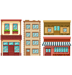 Four different designs shops and apartments vector