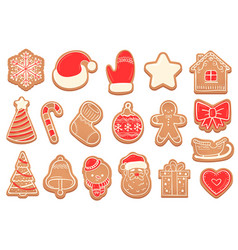 gingerbread christmas cookies new years bell vector image