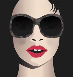 Glamor girl wears sunglasses Celebrity vector image