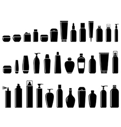 Glossy cosmetic bottle set vector