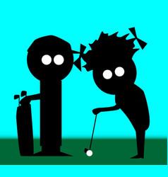 Golf couple vector