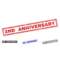 grunge 2nd anniversary textured rectangle vector image