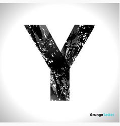 Grunge letter y black font sketch style symbol vector