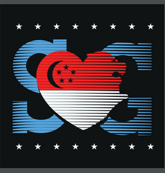 Heart shaped merlion icon t-shirt graphic design vector