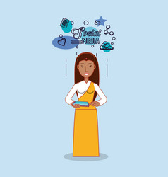 indian woman standing using tablet device social vector image