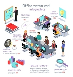 Isometric Office System Work Infographic vector