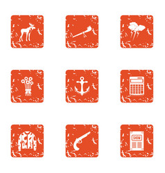 Itinerancy icons set grunge style vector