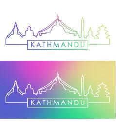 kathmandu skyline colorful linear style editable vector image