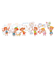 kindergarten kids drawing pictures vector image