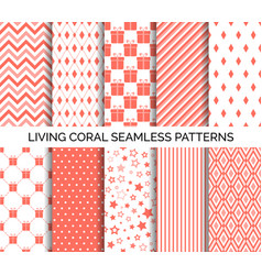 living coral color seamless patterns vector image