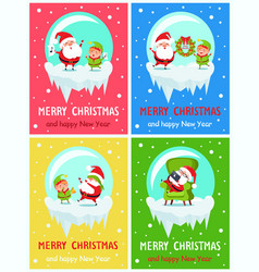 Merry christmas happy new year santa elf banners vector