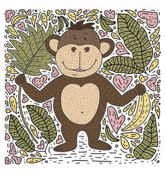 monkey bananas and palm leaves vector image