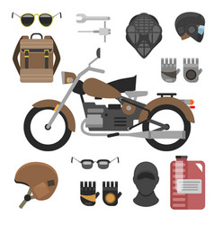 motorcycle with accessories set helmets backpack vector image
