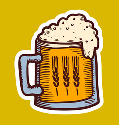 mug of wheat beer icon hand drawn style vector image