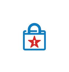 National star flag and padlock keyhole logo vector