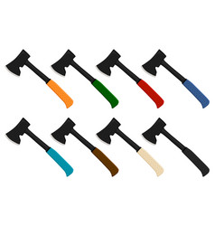 On theme big kit steel axes with wooden handle vector