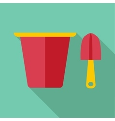 Pail and shovel icon flat style vector