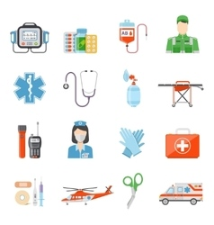 Paramedic Flat Colored Decorative Icons vector