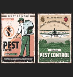 pest control exterminator and plane with insects vector image
