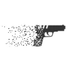 pistol gun damaged pixel icon vector image