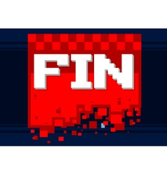 Pixel art fin icon on red background vector image