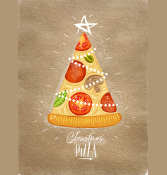 poster christmas tree pizza craft vector image