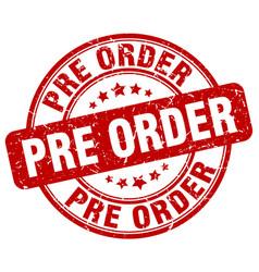 Pre order red grunge stamp vector