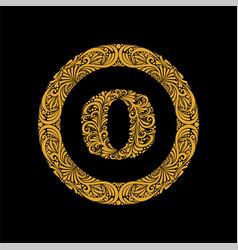 Premium elegant capital letter o in a round frame vector