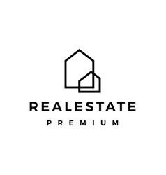 Real estate house mortgage outline logo icon vector
