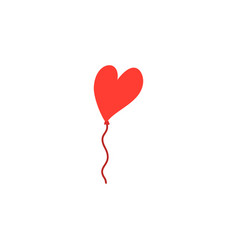 red heart balloon on white vector image
