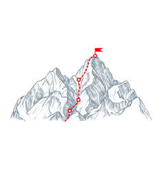 Red winner way to mount peak isolated on white vector