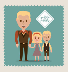 Retro family father their children vector
