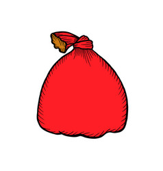 santa claus red bag isolated on white vector image