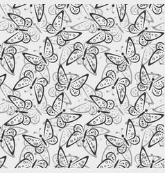 Seamless pattern butterflies contours vector