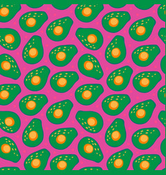Seamless pattern with avocado on a pink vector
