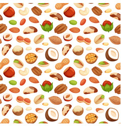 Seamless pattern with of nuts vector