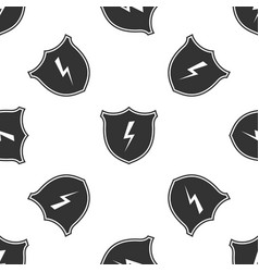 secure shield with lightning icon seamless pattern vector image