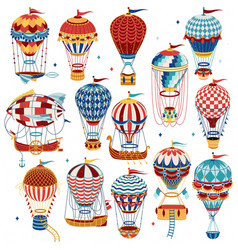 set colorful hot air balloons isolated on white vector image