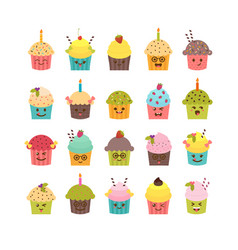 Set Of Cupcakes And Muffins Kawaii Vector