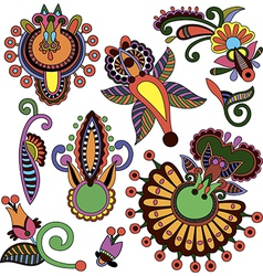 Set of hand draw ornate color flower design vector